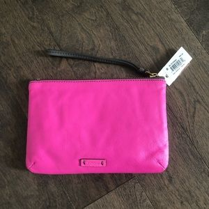 LEATHER Neon Pink / Gray Keely Colorblock Wristlet